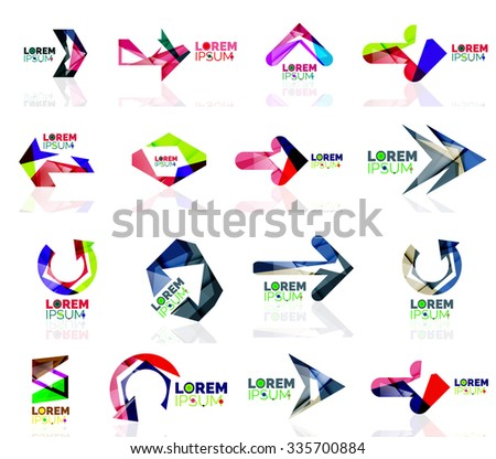 Geometric shapes arrow company logo set, paper origami style. Vector illustration