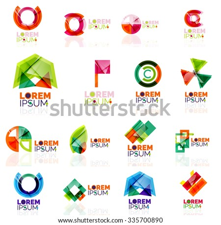 Geometric shapes company logo set, paper origami style. Vector illustration