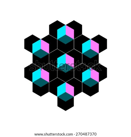 Geometric shapes from honeycombs, cubes, triangles, eps 10 - stock vector