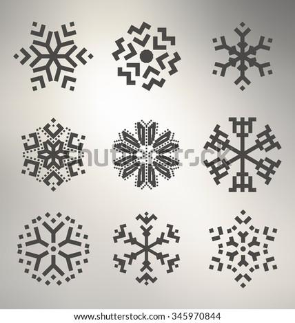 Geometric Snowflake Icon Set - stock vector