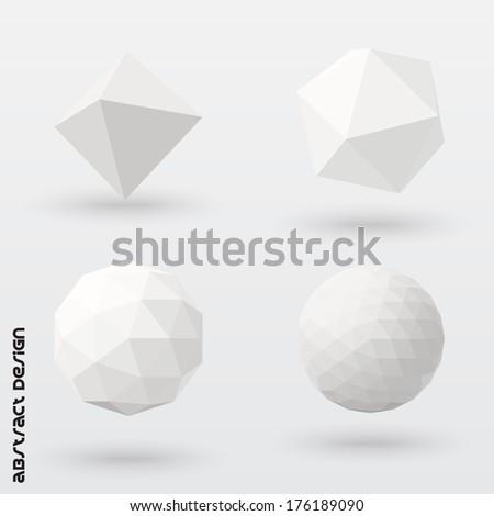 Geometric solids set. Vector design. - stock vector