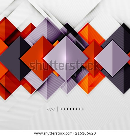 Geometric squares and rhombus futuristic template - colorful business presentation or abstract brochure design, glossy clean style and shadow effects