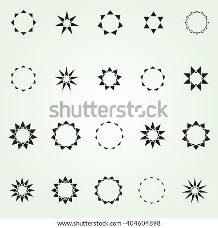 Geometric star vector logo template set
