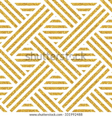 Geometric striped ornament. Vector gold seamless patterns. Modern stylish texture. Gold linear braids. Trendy gold glitter texture - stock vector