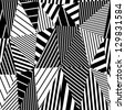 Geometric stripy seamless pattern, black and white vector background. - stock photo