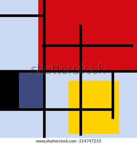 Geometric suprematism pattern in style neo-plasticism abstract art - stock vector