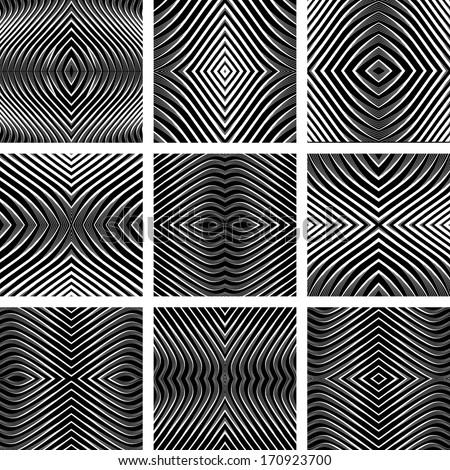 Geometric textures set. Symmetric patterns in op art design. Vector art. No gradient. - stock vector