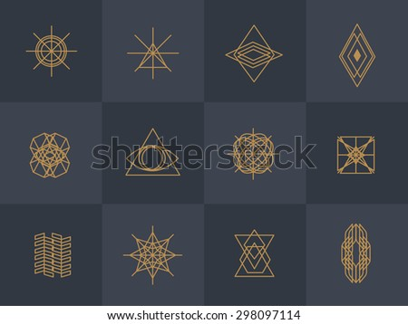 Geometric trendy hipster Icons vector illustration - stock vector