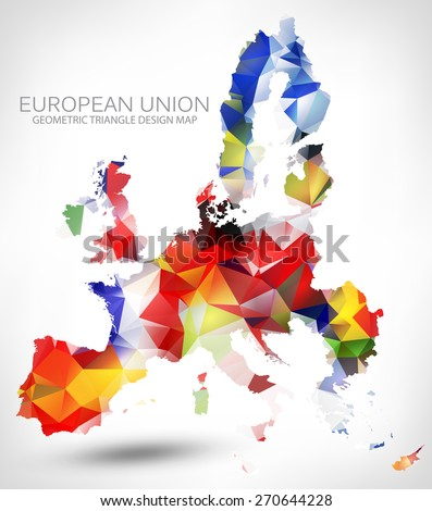 GEOMETRIC TRIANGLE DESIGN MAP OF THE EUROPEAN UNION. THE MAP PAINTED INTO COUNTRIES FLAGS COLORS. - stock vector