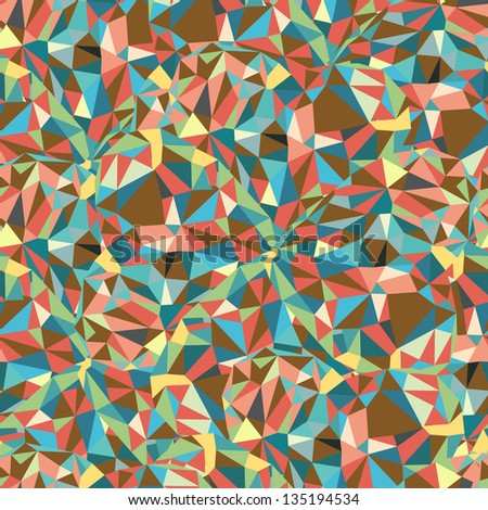 Geometric Triangle Shape Seamless Pattern. Retro pattern of geometric shapes. Colorful mosaic banner. Autumnal colors. Vector Illustration - stock vector