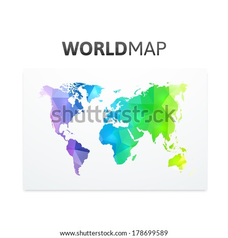 Geometric triangle world map rainbow color stock vector 178699589 geometric triangle world map of rainbow color isolated on white vector background gumiabroncs Image collections