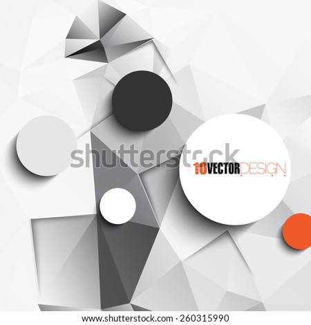 geometric triangular embossed background with blank round frames. eps10 vector - stock vector