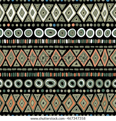 Geometric Tribal pattern. Traditional colored ethnic folk motifs hand drawn, vector background.