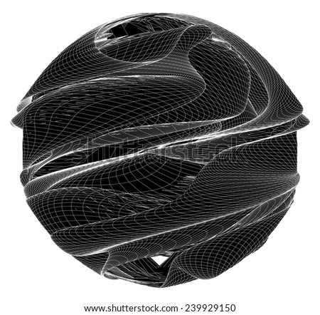 Geometric Twisted Organic Wireframe Sphere Vector 19 - stock vector