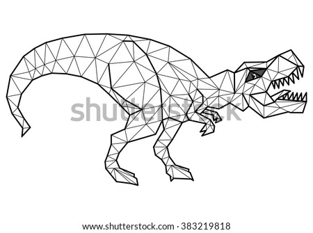 Geometric tyrannosaurus  with many triangles - stock vector