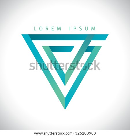 Geometric V letter, inverted triangle logo. - stock vector