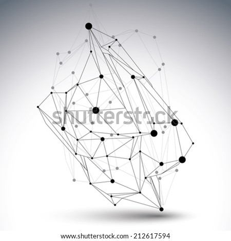 Geometric vector abstract 3D complicated lattice object, single color messy eps8 conceptual tech illustration with connected lines. - stock vector