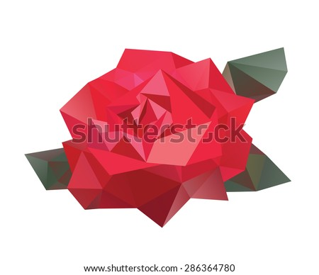 Geometric vector flower made from triangles on white background. Isolated rose.  - stock vector