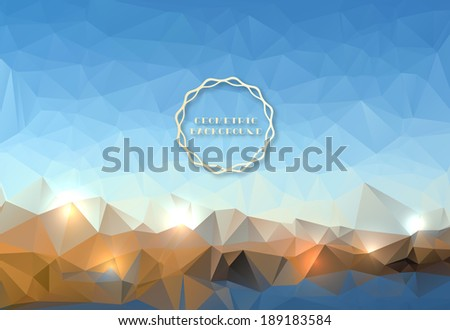 Geometric vector landscape-Mountain and lake  - stock vector