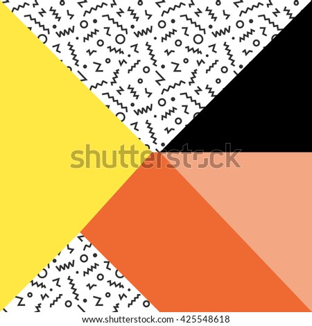 Geometric vector memphis design background in retro 80s, 90s style