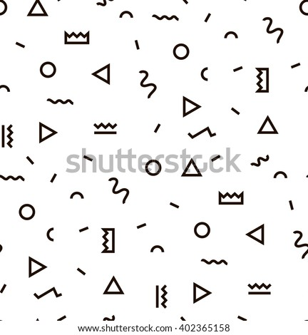 Geometric Vector pattern with black and white. Form a triangle, a line, a circle. Hipster fashion Memphis style. - stock vector
