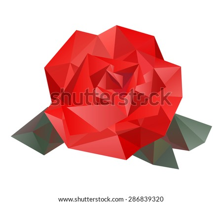 Geometric vector rose made from triangles on white background. Isolated rose.  - stock vector