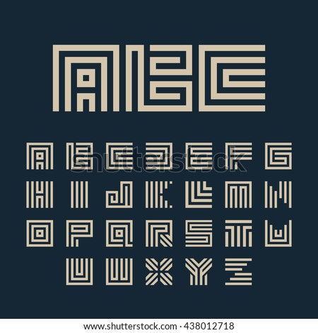 Geometric vector white color alphabet letters set. Monogram symbols collection on the dark blue background. Unusual typography elements group.  - stock vector