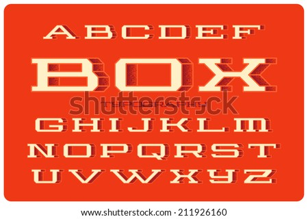 Geometric volume wide font with spray filled side. Orange background