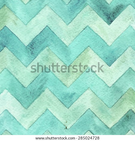 Geometric watercolor chevron pattern.  Turquoise background. Vintage card. - stock vector