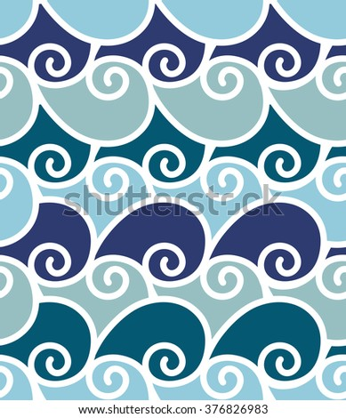 Geometric wave sea vector seamless pattern created with blue, turquoise and azure swirl