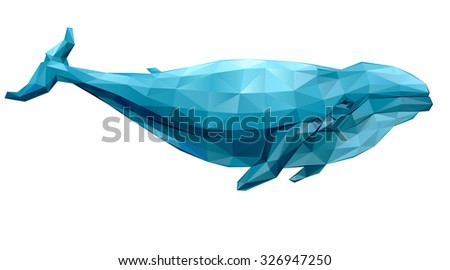 Geometric whale with many triangles - stock vector