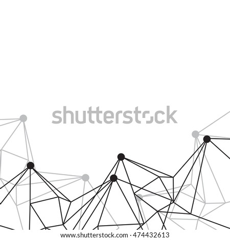 geometric wireframe abstract background, internet network signal vector illustration