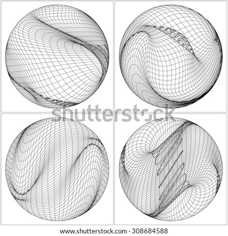 Geometric Wireframe Shape Vector 71 - stock vector