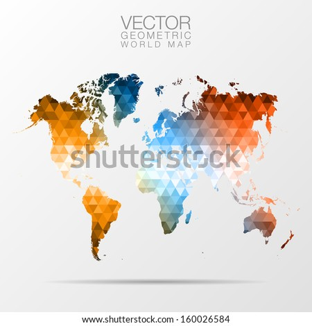 geometric world map - stock vector