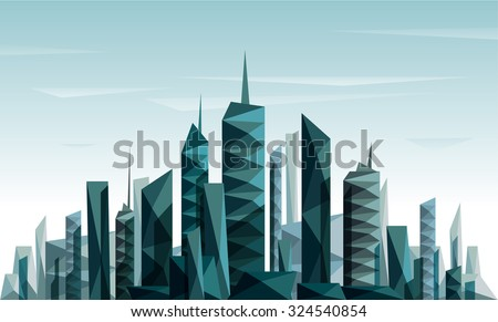 Geometrical abstract city skyline made with triangle - stock vector