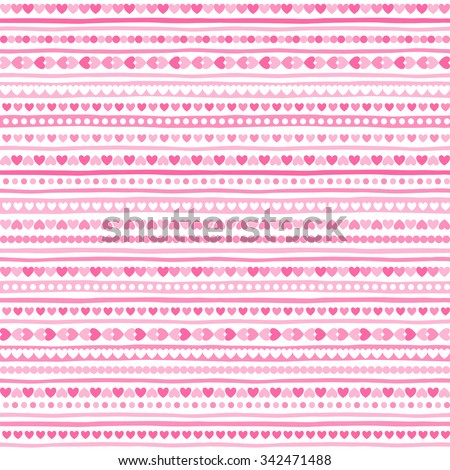 Geometrical abstract seamless pattern with tiny heart shapes, circles and stripes. Striped Valentines day background. Streaks made of hearts. Uneven bars with simple small elements texture. - stock vector