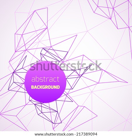 Geometrical background with purple lines and circle banner. Vector illustration - stock vector