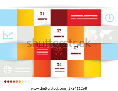 Geometrical brochure template with square fields for input - stock vector