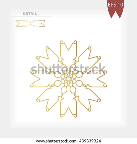Geometrical gold decorative round figure, ornament or mandala for decoration
