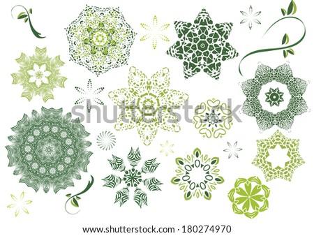 Geometrical green flowers on white background, vector - stock vector