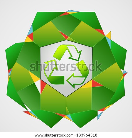 geometrical green layout with recycle sign vector illustration - stock vector