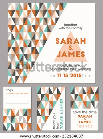 Geometrical modern wedding invitation set