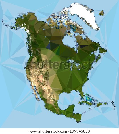 Geometrical North America  Map vector Illustration