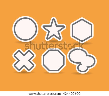 Geometrical objects designed as stickers with offset paths - stock vector