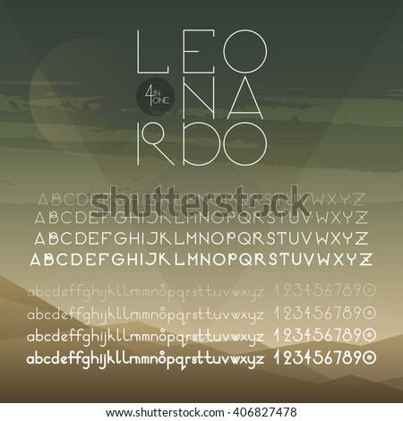Geometrical round font (uppercase, lowercase, numbers). A to Z alphabet. Four weights of one font (hairline, light, regular, bold). Elegant sans serif font family. - stock vector