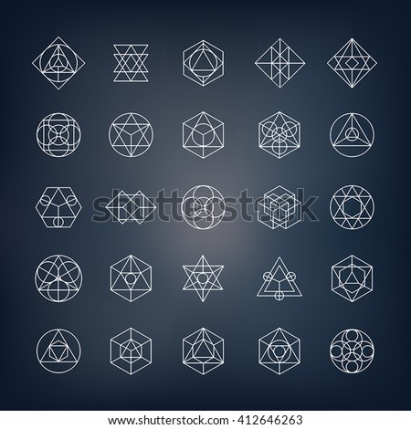 Geometrical shapes. Can be used as sacred geometry symbols or alchemy and spirituality elements.