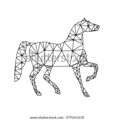 geometrical stylized line horse - stock vector