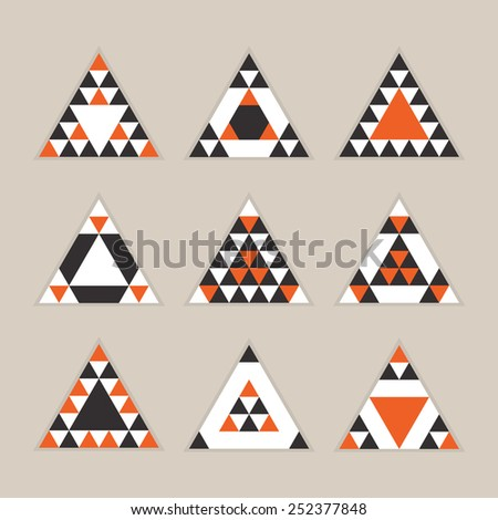 Geometrical tile equilateral triangles icons set - Modern flat design in orange, black, and white on khaki background - stock vector