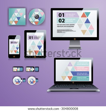Geometry application template design for corporate identity with  triangle shapes. Stationery set - stock vector