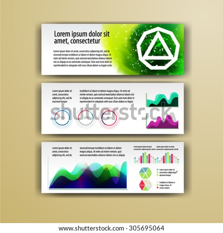 Geometry brochure template design  for corporate identity with geometry shapes and watercolor splashes. Cover layout and infographics - stock vector